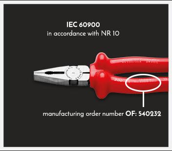 IEC 60900 de acuerdo a la NR 10. Número de la orden de fabricación OF: 540232