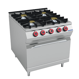 4-burner gas range on gas oven 800x950 mm