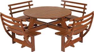 Picnic Table with Back with Jatobá Wood and Eco Blindage - Garden