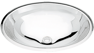 Tramontina Oval Overlay Lavatory in High Gloss Stainless Steel 40x27 cm