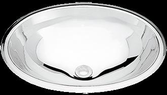 Lavabo Tramontina Oval Overlay en acero inoxidable de alto brillo 40x27 cm