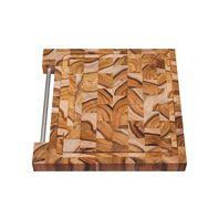 Tábua para Churrasco Tramontina Quadrada em Madeira Invertida Teca com Acabamento Envernizado 30 x 30 cm