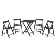 Casual Set 1 Table + 4 Chairs - Tauarí Wood and Tobacco Color