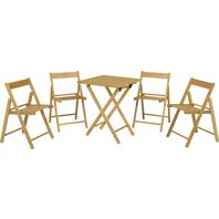 Casual Set 1 Table + 4 Chairs - Tauarí Wood and Varnished Finished