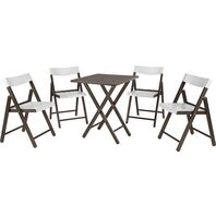 Potenza Set 1 Table + 4 Chairs Tobacco Wood/White Plastic