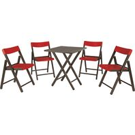 Potenza Set 1 Table + 4 Chairs Tobacco Wood/Red Plastic