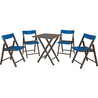 Potenza Set 1 Table + 4 Chairs Tobacco Wood/Blue Plastic