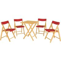 Potenza Set 1 Table + 4 Chairs Varnished Wood/Red Plastic