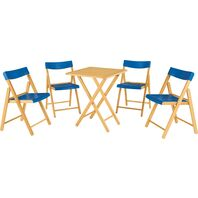Potenza Set 1 Table + 4 Chairs Varnished Wood/Blue Plastic