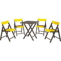 Potenza Set 1 Table + 4 Chairs Tobacco Wood/Yellow Plastic