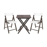 Potenza Set 1 Table + 4 Chairs Varnished Wood/White Plastic