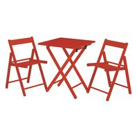 Casual Set 1 Table + 2 Chairs - Tauarí Wood and Red Color