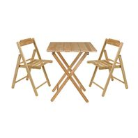 Tramontina Wooden Chairs and Table Set Beer Foldable in Natural Varnished Teak Wood 3 Pieces