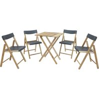 Potenza Set 1 Table + 4 Chairs Natural Wood/Graphite Plastic