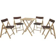 Potenza Set 1 Table + 4 Chairs Varnished Wood/Brown Plastic