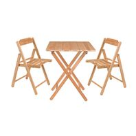 FSC Tramontina Wooden Chairs and Table Set Natural Teak Wood Folding Beer 3 Pieces