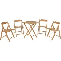 Tramontina Wood Chairs and Table Set Foldable Beer in Teak Wood with Sanded Finish 5 Pieces