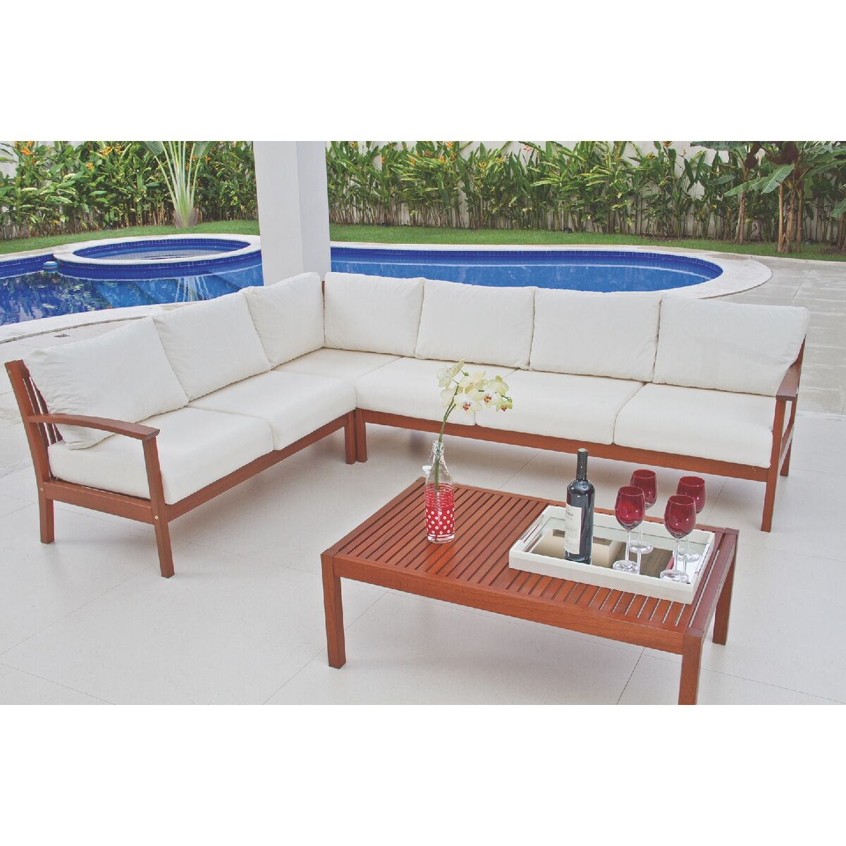 Tramontina - 2 Seats Sofa without Arms w/ Jatobá Wood and AcquaBlock ...