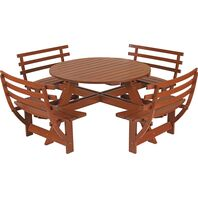 Picnic Table with Back with Jatobá Wood and Natural Finished - Garden