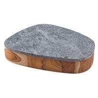 Bowl Tramontina Concreta em Madeira Teca com Acabamento Óleo e Tampa em Pedra Sabão Polida