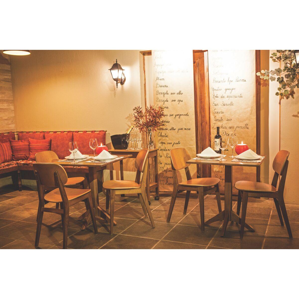 Tramontina mesa de madeira quadrada 4 lugares london for Sillas para fuente de soda