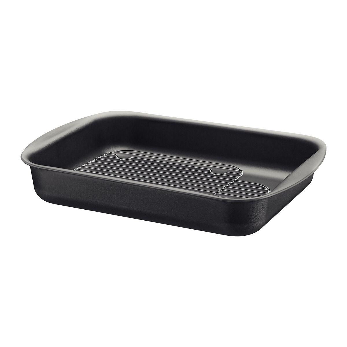Asadera rectangular con grill en aluminio con revestimiento interno en antiadherente 34cm