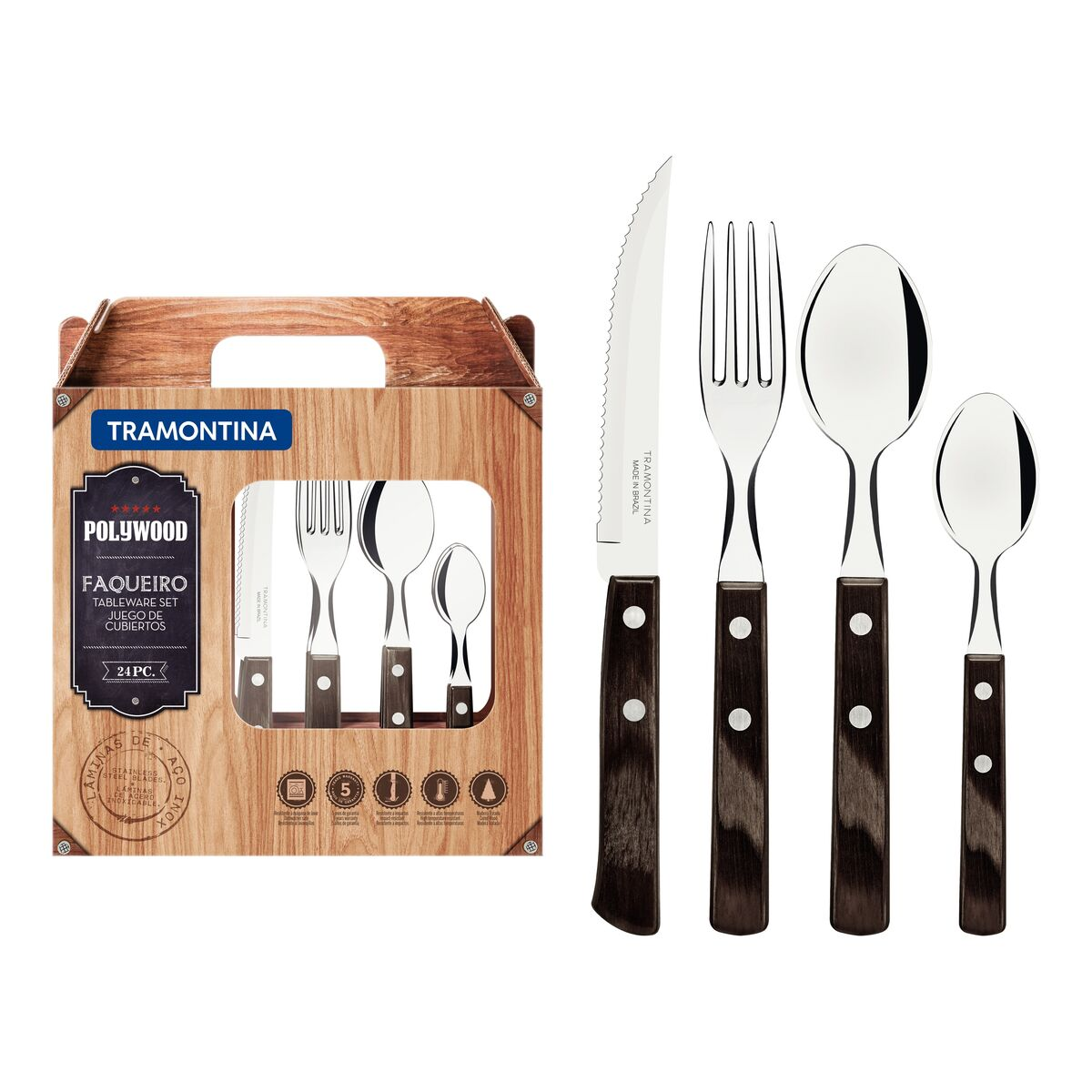 Tramontina Polywood stainless steel flatware set with brown wood handles, 24 pcs