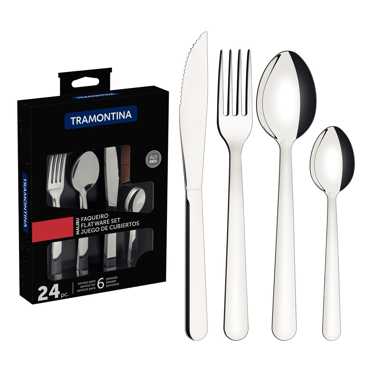 Tramontina Malibu smooth stainless steel flatware set, 24 pcs
