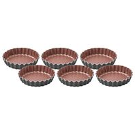 6 pcs Aluminum tart mold set with interior nonstick coating
