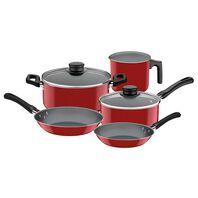 Tramontina Caribe red aluminum cookware set with interior Starflon T1 non-stick coating, 5-piece set