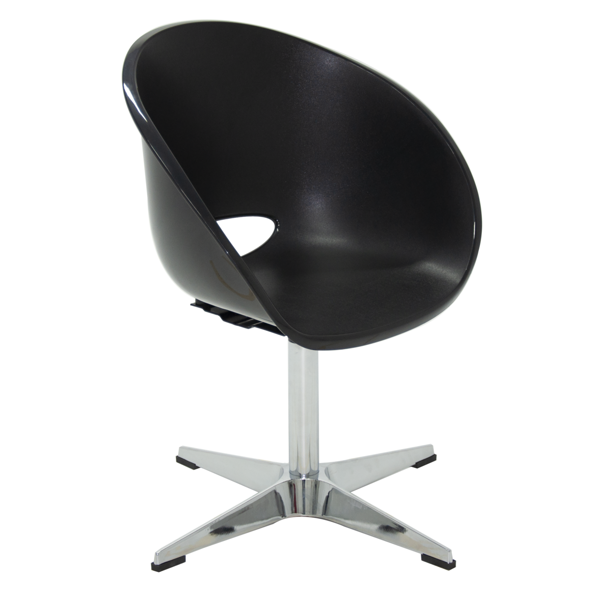 Image of: Cadeira Tramontina Elena Giratoria Em Polipropileno Preto Com Base X Em Aco Cromado Tramontina