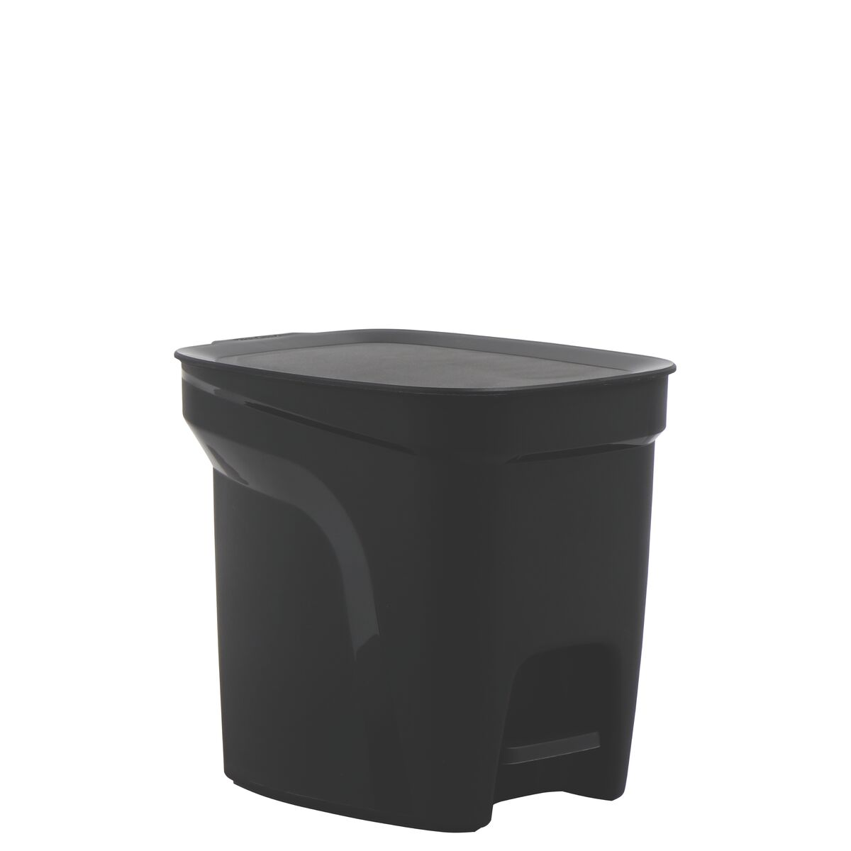Tramontina Compact Black Polypropylene Compact Trash Can with a Galvanized Steel Rod, 7L