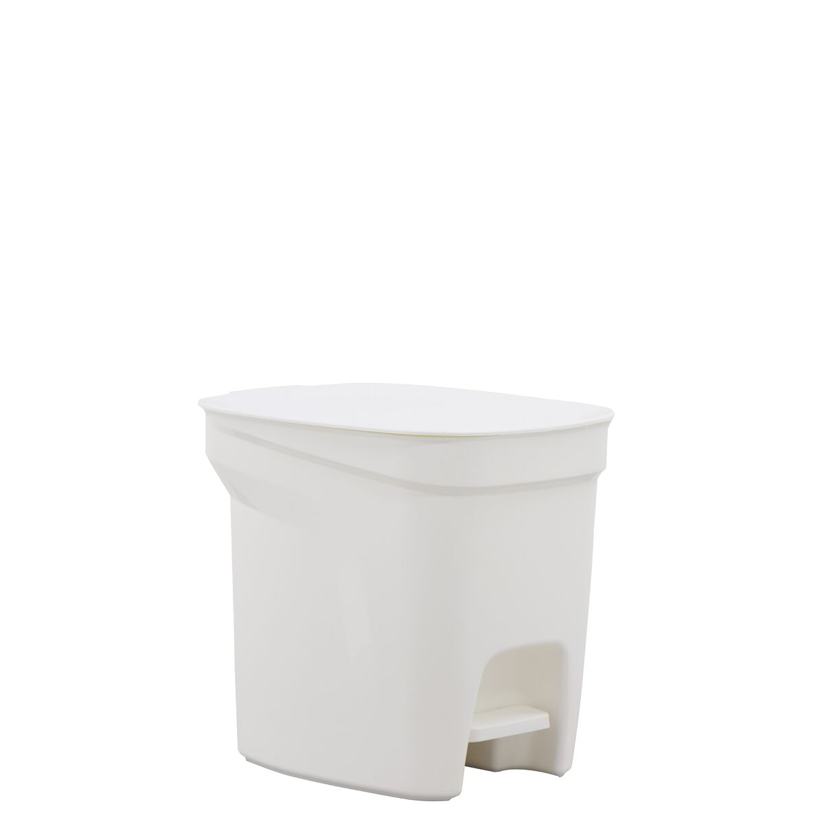 Tramontina Compact White Polypropylene Compact Trash Can with a Galvanized Steel Rod 7L