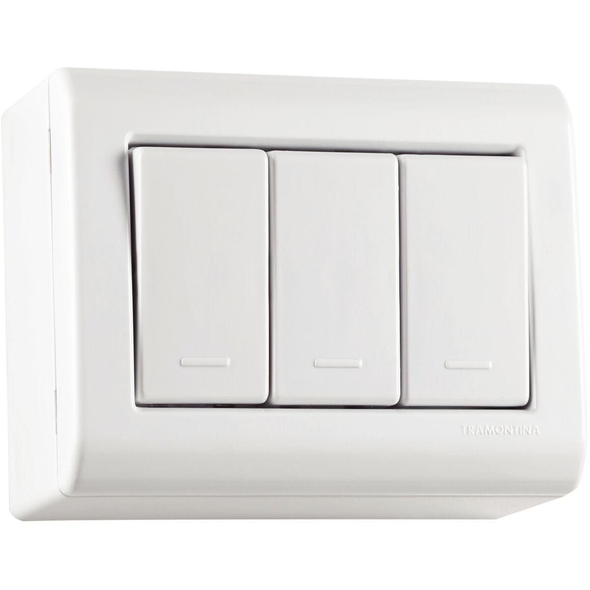 Tramontina Set Box 3 One Way Switch 10a 250v Light Plate