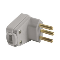 Plugue angular 2P+T 10A 250V~ cor cinza