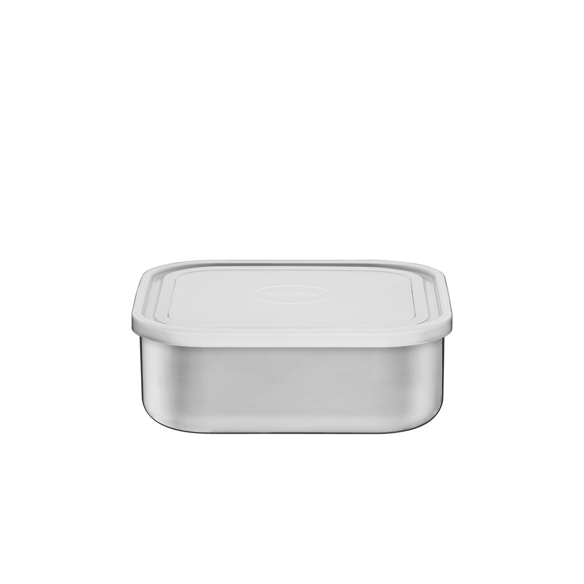 Contenedor Tramontina Freezinox de acero inoxidable cuadrado con tapa plástica 16 cm 1,2 L