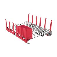 Tramontina Plurale stainless steel dish drainer rack with glass holder and red cutlery holder