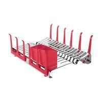 Escorredor de Louça Tramontina Plurale em Aço Inox com Porta-copos e Porta Talheres Vermelho