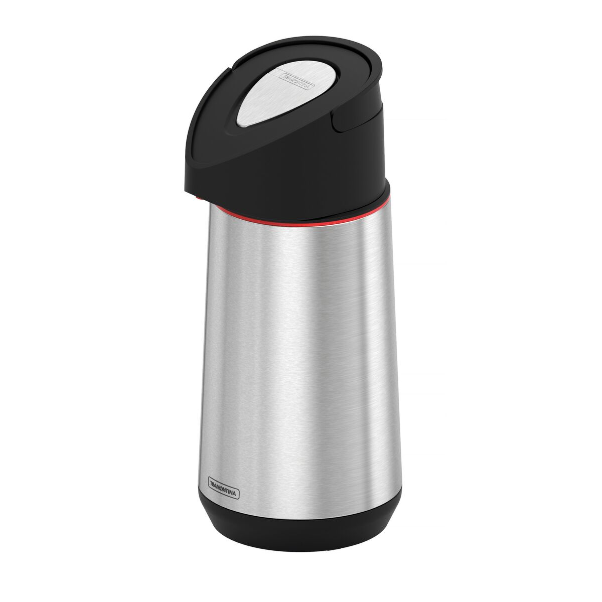 Tramontina 1.2 L Exata stainless steel thermal beverage dispenser with glass container