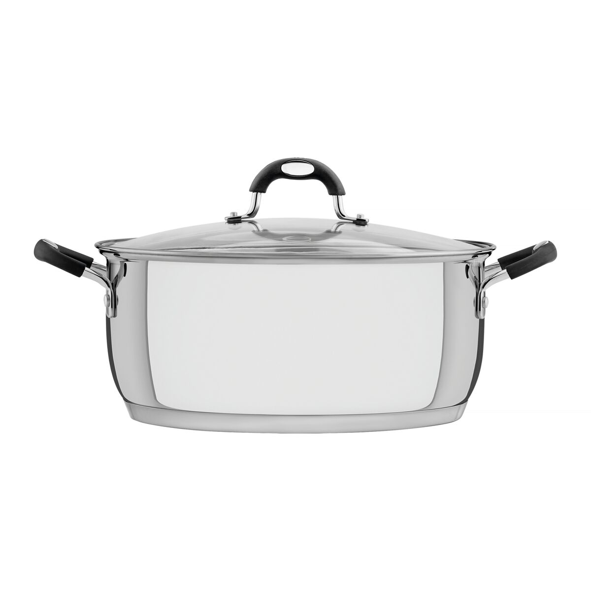Tramontina Solar Silicone shallow stainless steel casserole dish with tri-ply base and glass lid, 30 cm and 8.9 L