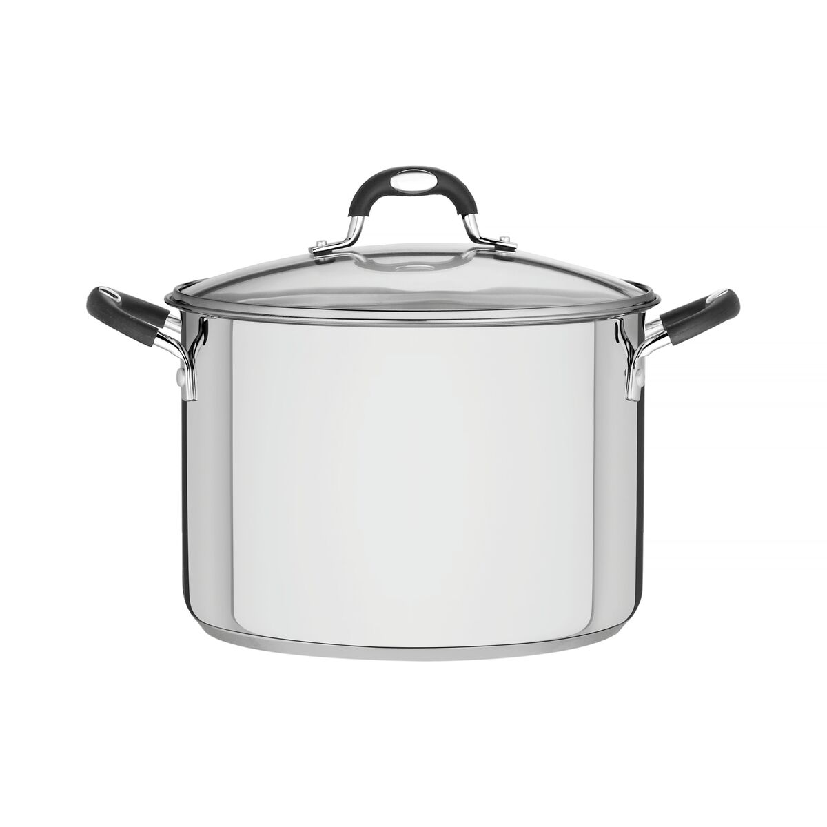 Tramontina Solar Silicone stainless steel stock pot with tri-ply base and glass lid, 28 cm and 11.9 L