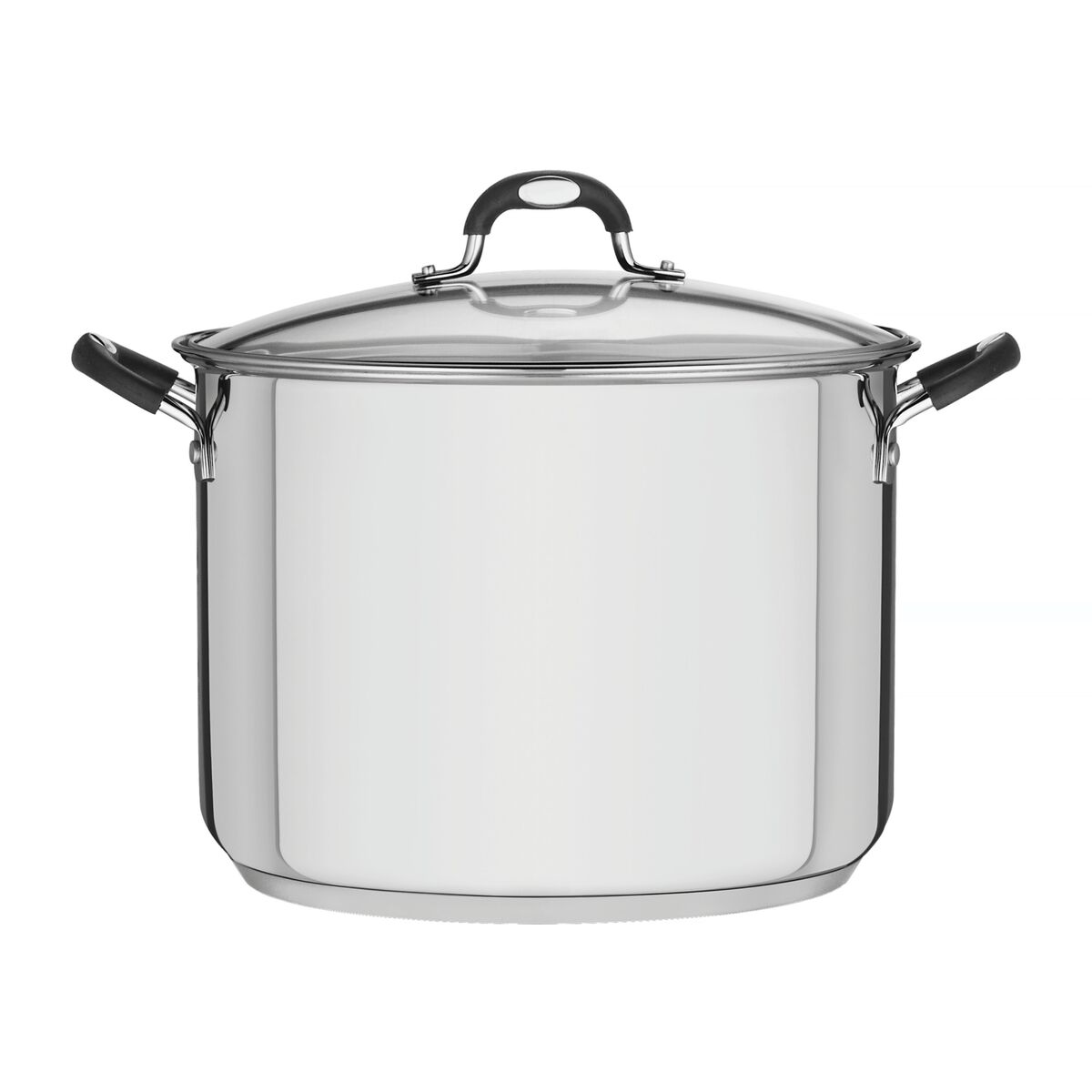 Tramontina Solar Silicone stainless steel stock pot with tri-ply base and glass lid, 30 cm and 15.4 L