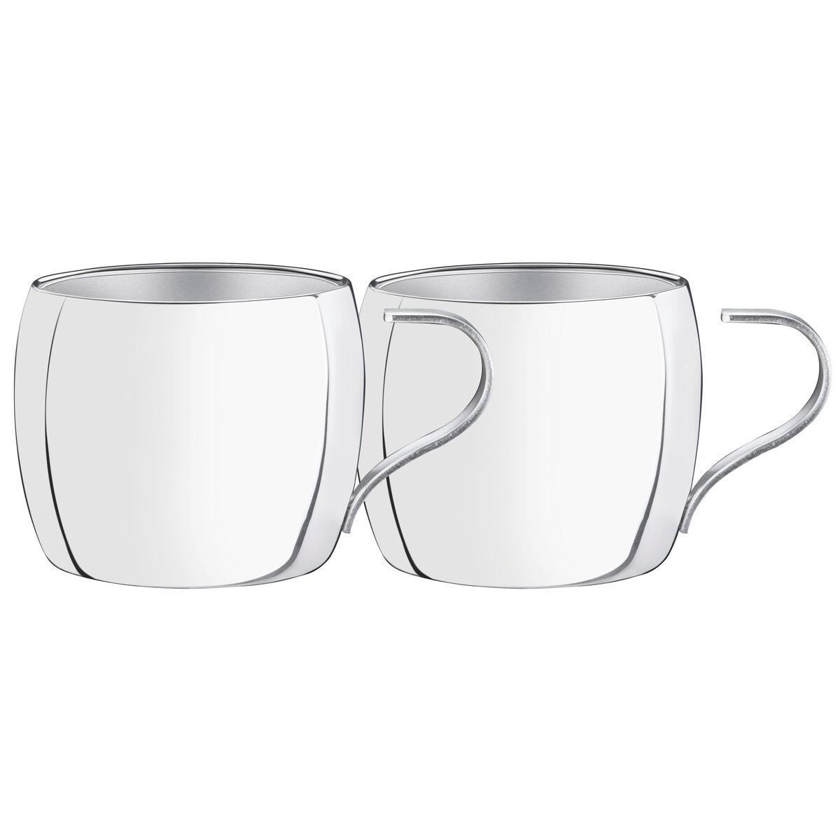 Tramontina stainless steel tea and cappuccino cup set with shiny finish, 2 pc set