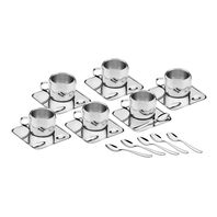 Tramontina glossy stainless steel coffee set with cup, square saucer and spoon, 18 pieces
