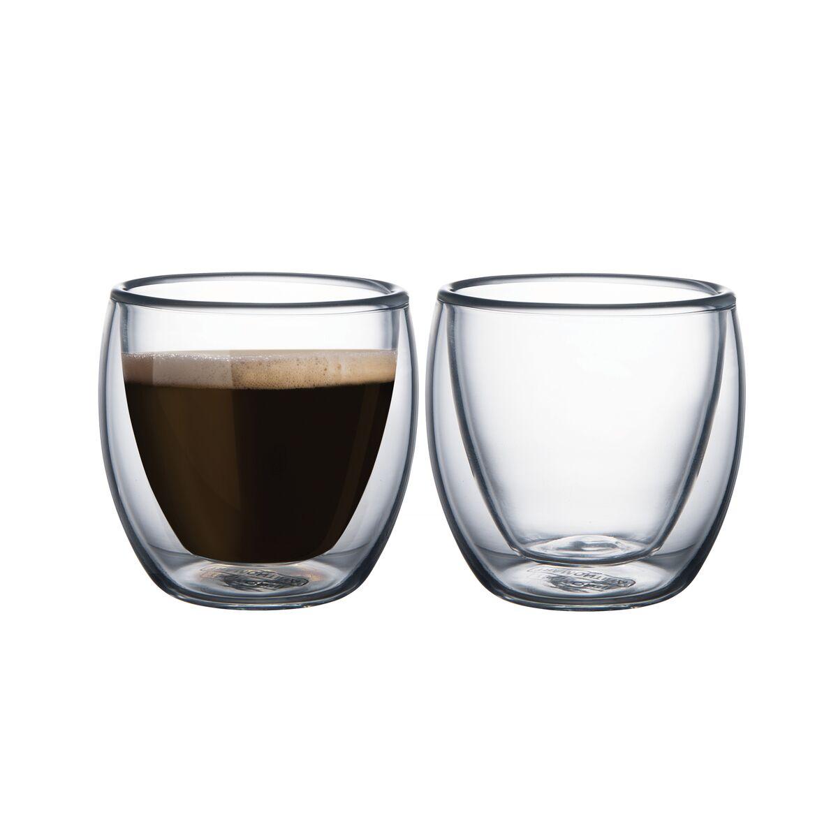 Juego de tazas Tramontina para café con vidrio doble 2 piezas