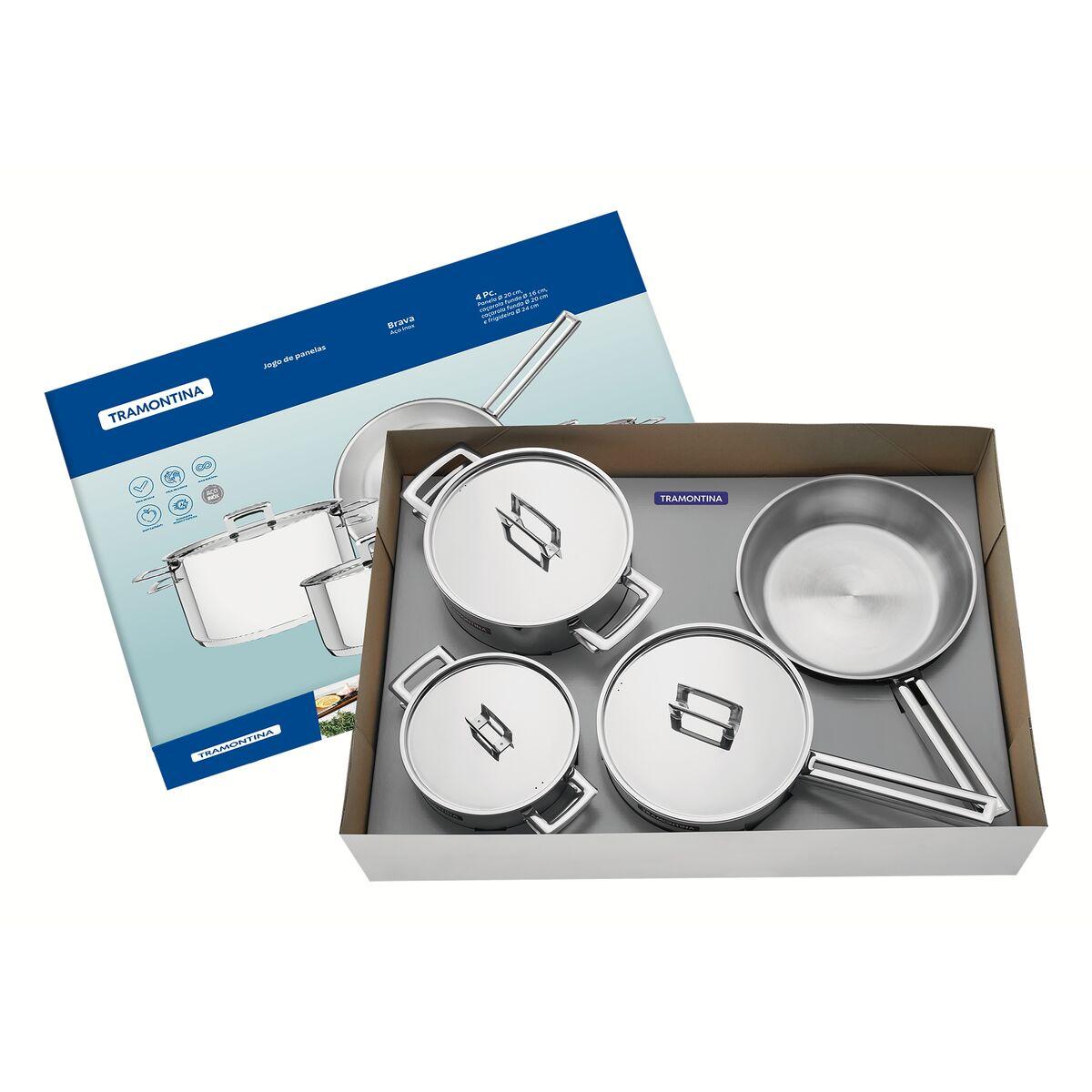 Tramontina - Batería de cocina acero inoxidable con fondo triple 4 pzas.