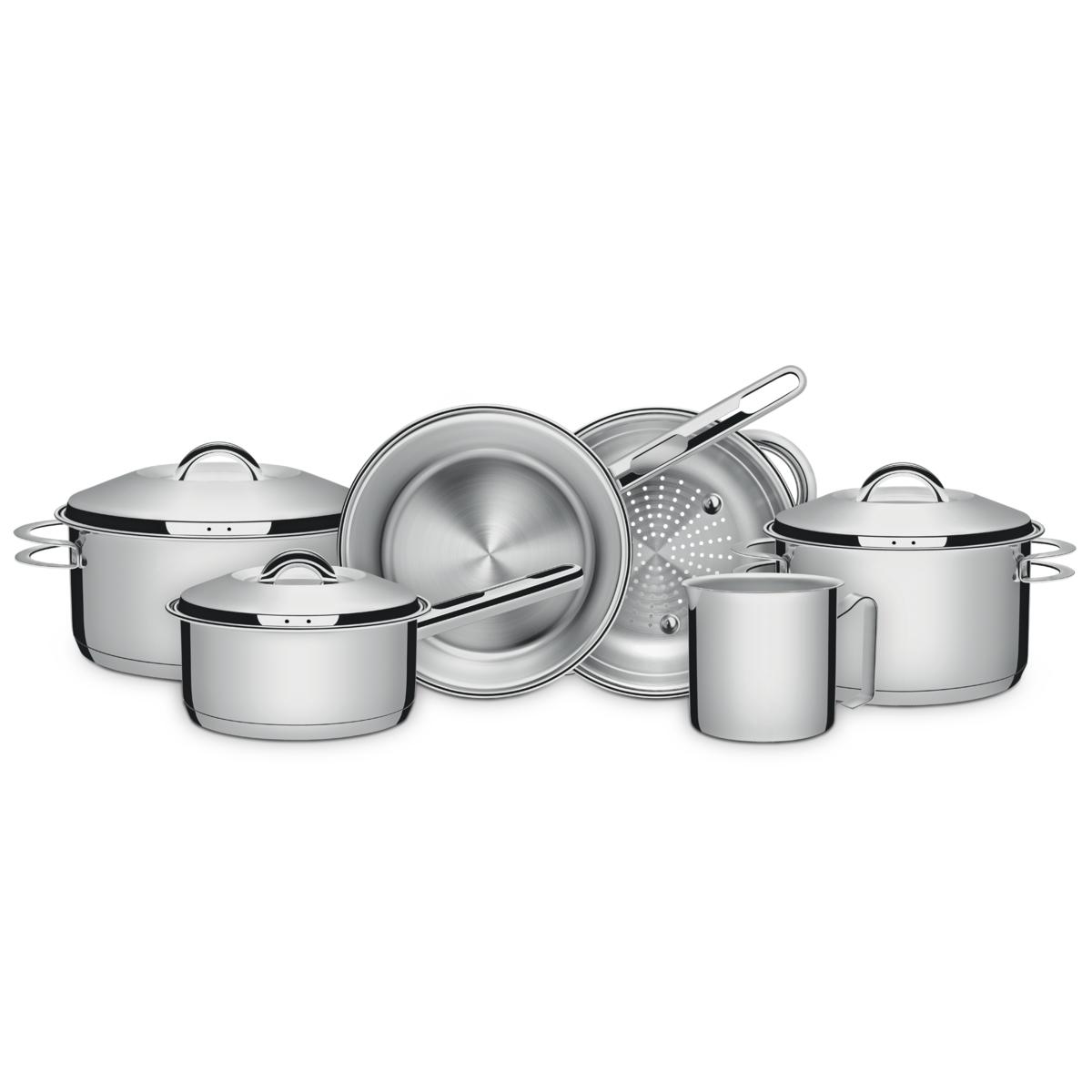 Tramontina - Batería de cocina acero inoxidable con fondo triple 6 pzas.
