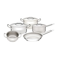5 pc. stainless steel cookware set with triple-ply bottom.
