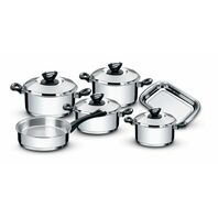Tramontina Solar Bakelite stainless steel cookware set with tri-ply base and Bakelite handles, 6 pc set