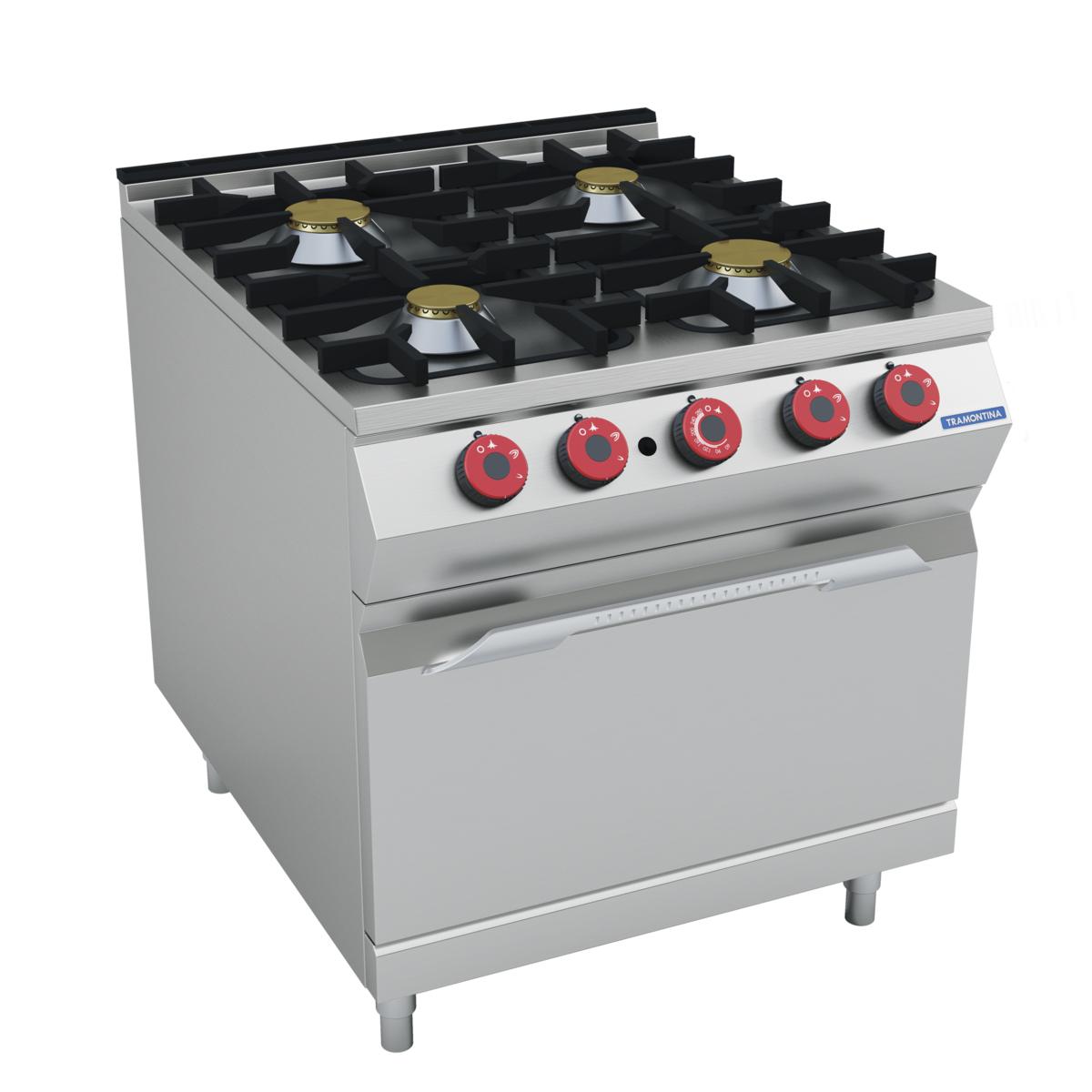 Tramontina - Cocina a gas 4 quemadores con horno a gas
